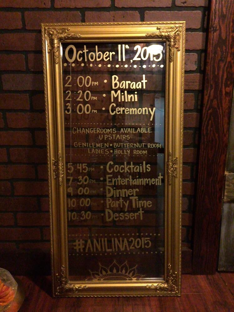Framed Schedule Board - Hilton Hotel Markham