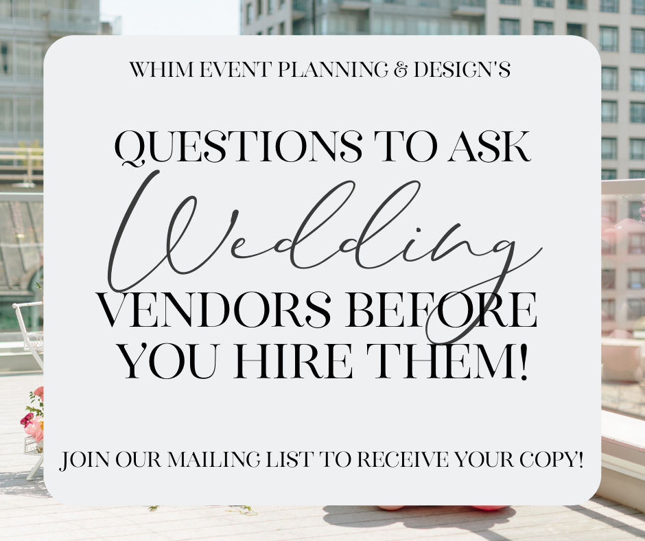 questions to ask wedding vendors
